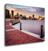 Gallery Wrapped Canvas, Long Exposure Skyline Waterfront Promenade Baltimore Maryland - melangebyojo