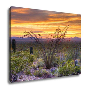 Gallery Wrapped Canvas, Sonoran Desert Catching Days Last Rays Near Tucson - melangebyojo