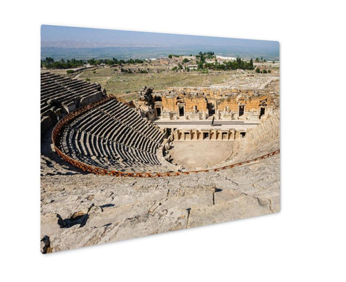 Metal Panel Print, Ruins Of Theater In Ancient Hierapolis Now Pamukkale Turkey