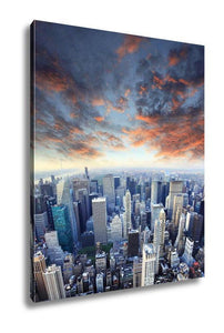 Gallery Wrapped Canvas, New York City Manhattan Skyline Aerial View - melangebyojo