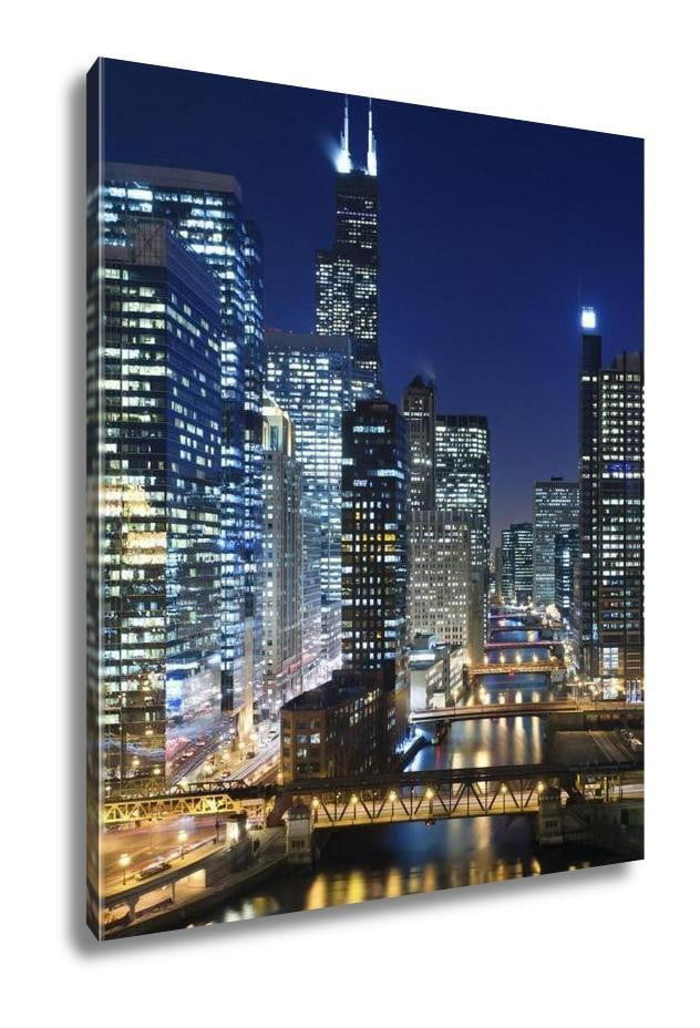 Gallery Wrapped Canvas, Chicago At Night - melangebyojo