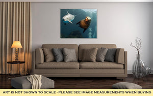 Gallery Wrapped Canvas, Dolphin And Sea Lion Underwater Close Up - melangebyojo
