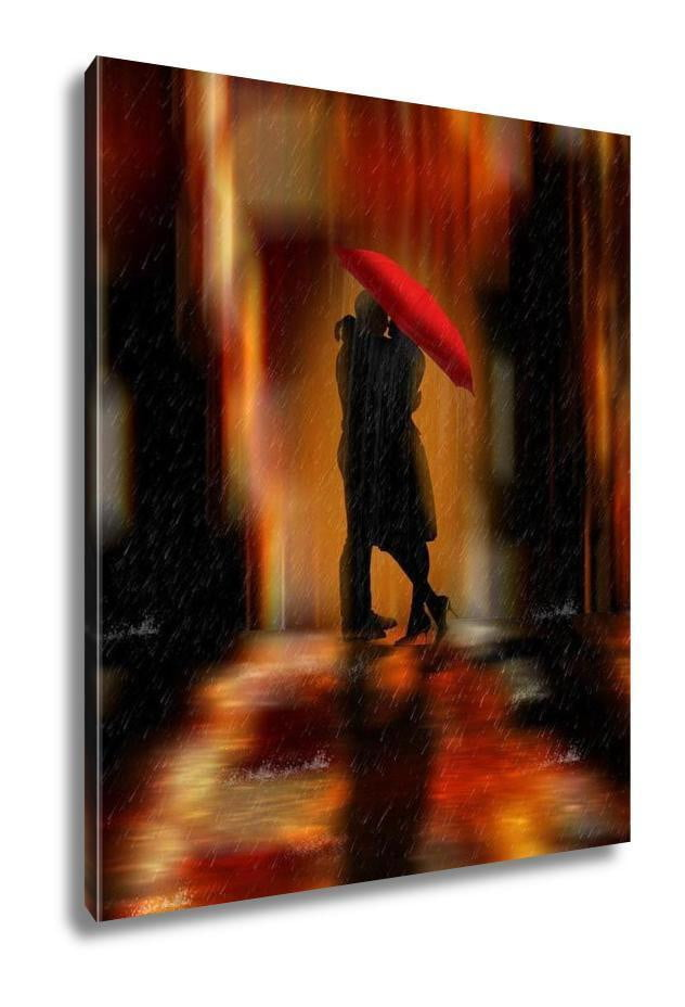 Gallery Wrapped Canvas, Downtown Fantasy Love And Romance Greeting Card Or Wall Art Illustration - melangebyojo