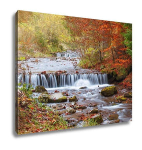 Gallery Wrapped Canvas, Waterfall In Autumn Forest Beautiful Nature - melangebyojo