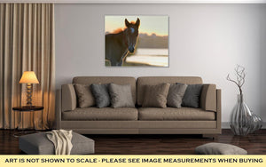 Gallery Wrapped Canvas, New Young Foal On Field At Sunset - melangebyojo