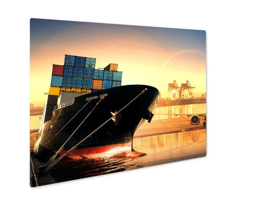 Metal Panel Print, Container Ship In Importexport Port Against Beautiful Morning Light Of Loading