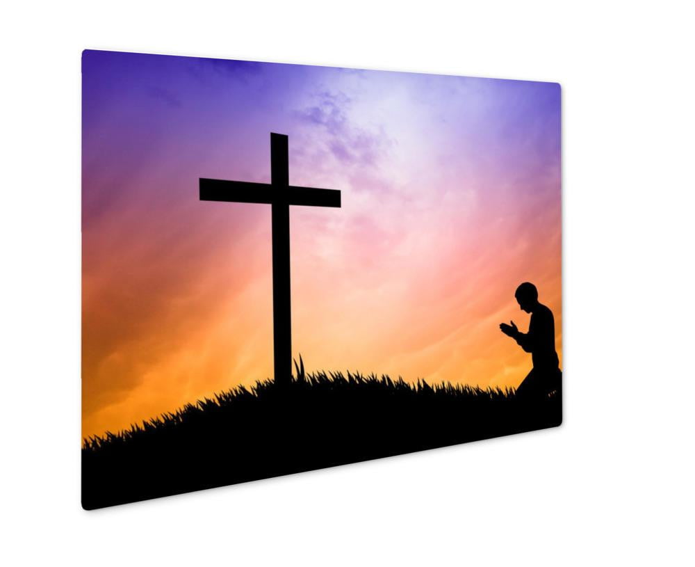 Metal Panel Print, Man Praying Under The Cross