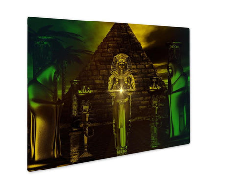 Metal Panel Print, Egyptian Temple Haunting Digital Art Fantasy Scene Of Egyptian Pyramid With - Mélange Paris