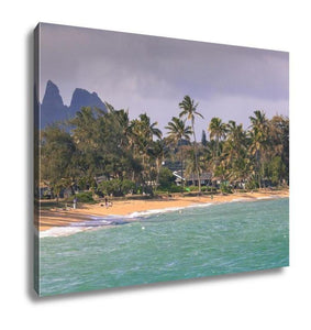 Gallery Wrapped Canvas, Coconut Palm Tree On The Sandy Beach In Kapaa Hawaii Kauai - melangebyojo