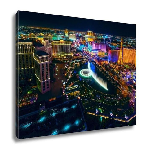 Gallery Wrapped Canvas, The Las Vegas Strip As Seen From The Cosmopolitan Hotel With View Onto Bellagio - melangebyojo