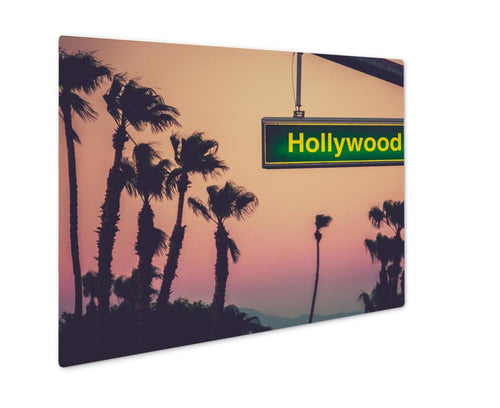 Metal Panel Print, A Hollywood Blvd Sign At Sunset With Palm Trees In Los Angeles