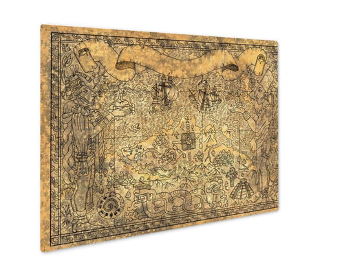 Metal Panel Print, Ancient Mayan Or Aztecs Map With Gods Old Ships And Temple On Old Paper D Hand