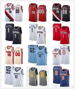 NCAA 1 Zion Williamson College Basketball Jerseys 12 Ja Morant Lonzo 00 Carmelo Anthony 9 RJ Barrett Basketball Jerseys S-XXL 2019 2020