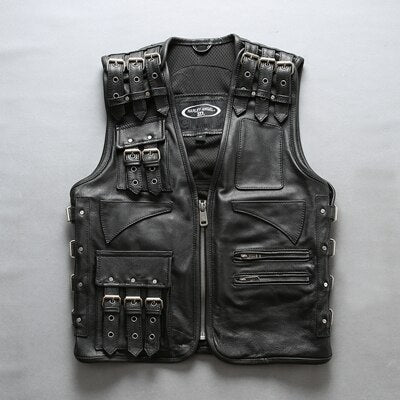 New Style Men's Adjustable Vests Genuine Leather Motorcycle Vest Thick Cowhide Leather Sleeveless Jackets DHL Free Shipping