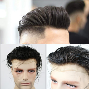 Full Lace Human Hair Toupee for Men, Man's Hair Replacement System Wigs With Soft Thin Lace Bleached Knots Hair System For Men