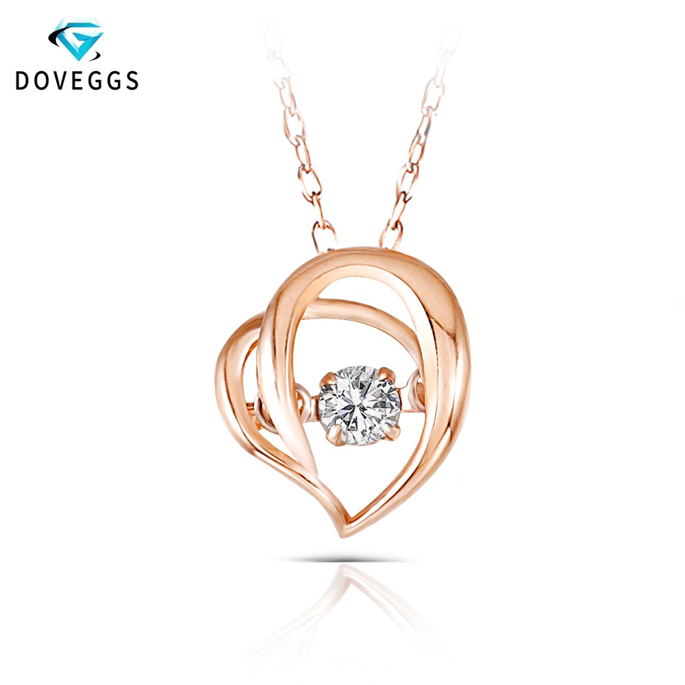 DovEggs Heart Shaped Rose Gold Ladies Diamond Pendant Necklace 10K Gold Diamond Dancing Setting Link Chain Necklace For Women