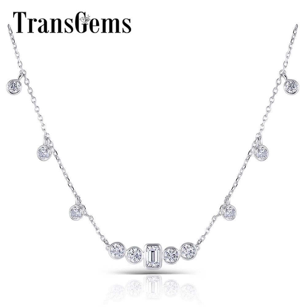 Transgems 10K White Gold Center 4x6MM Emerald Cut F Color Moissanite Necklace with Accents for Women Wedding Anniversary Gifts
