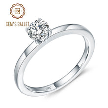 GEM'S BALLET 10K White Gold Promise Ring D Color VVS  5mm 0.5Ct Moissanite Solitaire Engagement Wedding For Women Fine Jewelry
