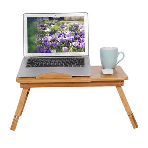 Portable Folding Bamboo Laptop Table Sofa Bed Office Laptop Stand Desk With Fan Bed Table For Computer Notebook Studying