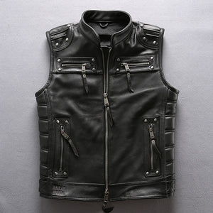 DHL Free Shipping 2019 Men Professional Motorcycle Biker Sleeveless Jacket Genuine Leather Vest New Rivet Cowskin Black Vest