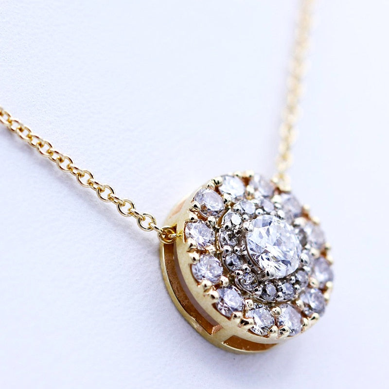 Real 10K White And Yellow Gold  Lab Grown 3mm Moissanite Diamond Pendant with Chian Necklace For Women