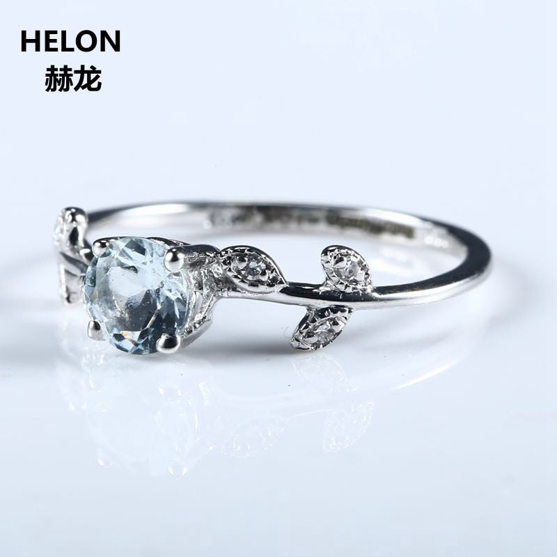 Leaf Women Engagement Wedding Ring Solid 10k White Gold Natural Aquamarine Genuine Diamonds Cute Romantic Fine Jewelry