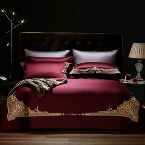 New 1000TC Egyptian Cotton Royal Luxury Bedding set King Queen Size Embroidery Bed set Duvet Cover Bedsheet set parrure de lit