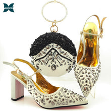 New Arrival Winter Silver Color Italian design Women Shoes and Bag Set African Matching Shoes and Bag for Royal Party