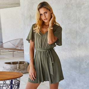 Dropship Jumpsuit Rompers Women Casual Solid Jumpsuits  Streetwear Romper Spring Summer Short Sleeve Overalls For Women Playsuit