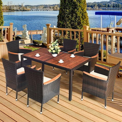 Costway 7PCS Patio Rattan Dining Set 6 Stackable Chairs Cushioned - Mélange Paris