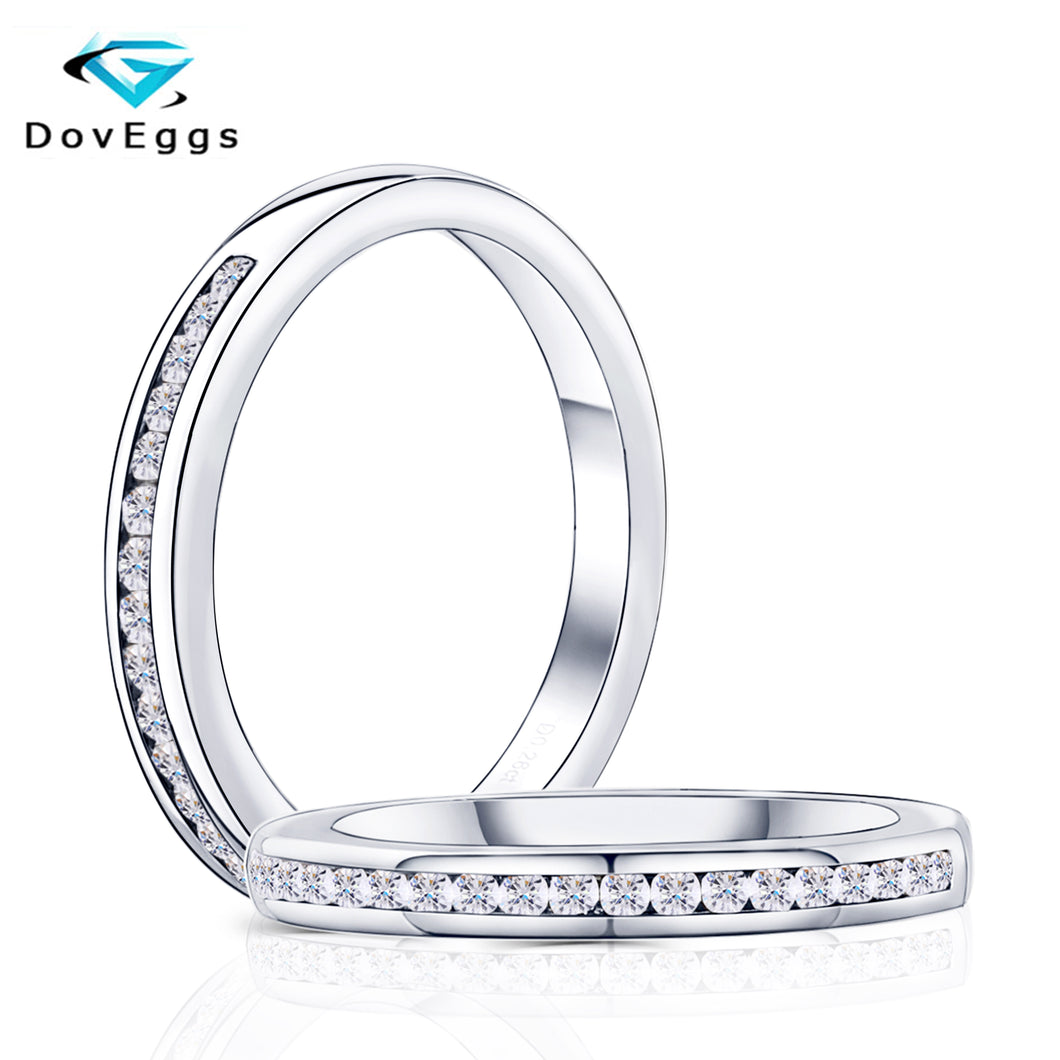 DovEggs New Arrival Solid 10K  White Gold 1.4mm GH Color Moissanite Half Eternity Wedding Band For Women