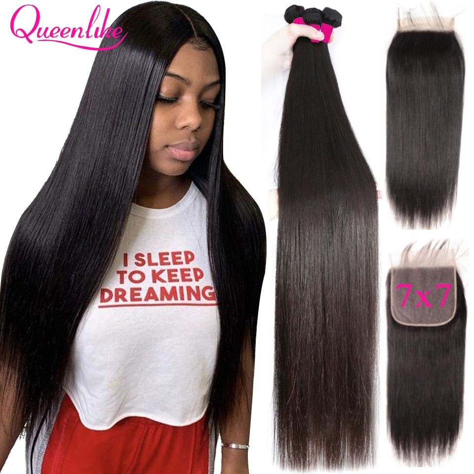 Big 7x7 Closure And 3 Bundles Remy Human Hair Weave Bundles With Frontal Brazilian Straight Hair Bundles With 7*7 Closure