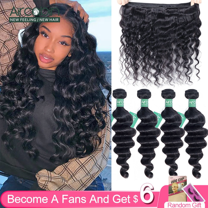Aircabin Loose Deep Wave Bundles Brazilian Hair Weave 100% Bundles Remy Human Hair 1/3/4 Bundles Natural Color Hair Extension