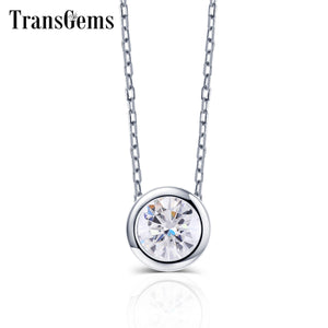 TransGems Classic Gold Pendant Necklace 10K White Gold Center 2ct 8mm GH Color Moissanite Pendant Necklace Gold Fashion Jewelry