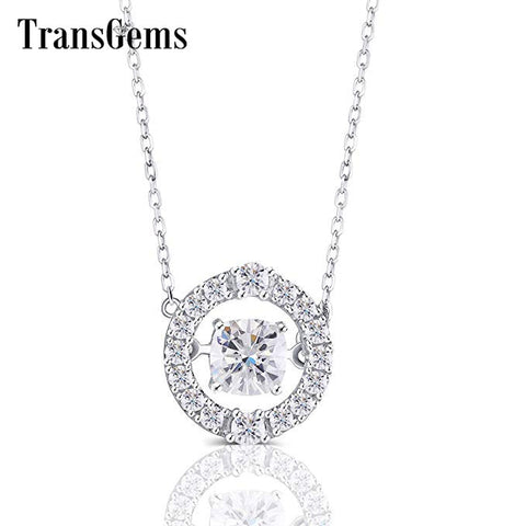 Transgems 10K White Gold Center 1.5ct 6.5mm F Color Cushion Cut Moissanite Halo Pendant Necklace with Accents for Women - Mélange Paris