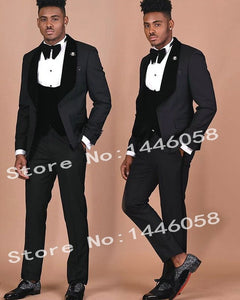 SZMANLIZI Mens Wedding Suits 2019 Italian Design Custom Made Black Smoking Tuxedo Jacket 3 Piece Groom Terno Suits For Men