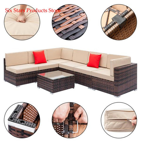 Fully Equipped Weaving Rattan Sofa Set with 2pcs Corner Sofas & 4pcs Single Sofas & 1 pcs Coffee Table Brown Gradient - Mélange Paris