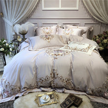 Luxury chic gray egyptian cotton Bedding set 4pcs queen king size bedsheet/fitted sheet set embroidery duvet cover bed set