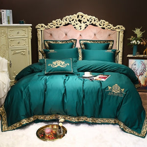 Luxury 1000TC egyptian  cotton Queen King Bedding Set  4/7pcs Bed cover Bedsheet Duvet Cover High-end sample room Bed set