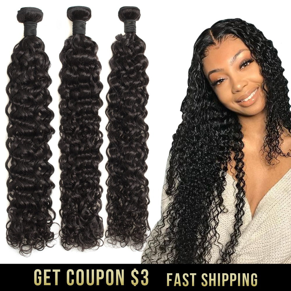 water wave human hair bundles curly deep brazilian hair weave bundles long hair extension 30 inch 1 3 4 bundles remy extensions