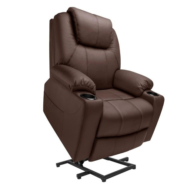 Furgle Power Lift Recliner Chair Faux Leather Electric Massage Heat and Vibration for Elderly Living Room Lounge Massage Sofa