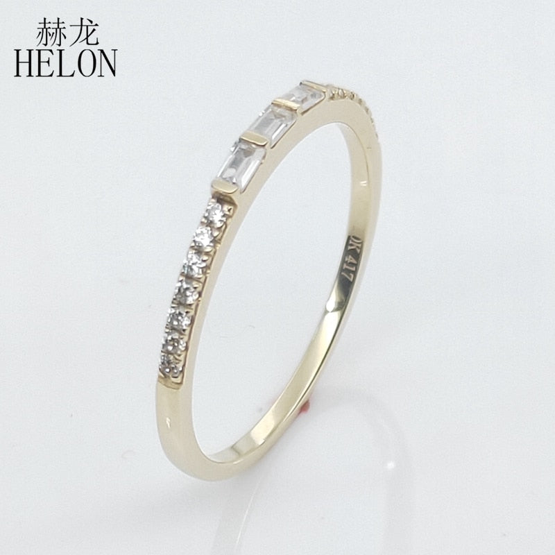 HELON Solid 10K Yellow Gold SI/H 100% Genuine Natural Diamond Engagement Wedding Ring Women Trendy Fine Jewelry Diamonds Ring