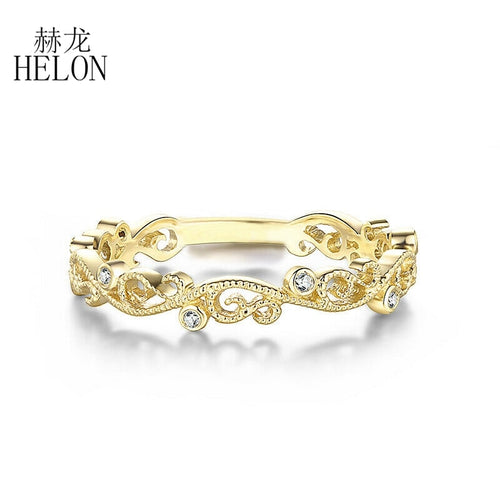 HELON Solid 10k Yellow Gold SI/H Natural Diamonds Engagement Wedding Ring Vintage Art Deco Filigree Women Trendy Fine Jewelry