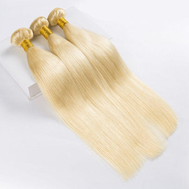 Rucycat 613 Bundle Brazilian human hair bundles Weave 9A Honey Blonde Hair 30 Inch Long Hair Bundles Straight Blonde Bundles