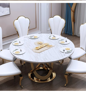Marble Post-Modern Simple Light Luxury Dining Table and Chairs Set Hotel Custom Creative round Dining Table