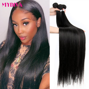 Mydiva 8-34 36 38 40 Inch Brazilian Hair Weave Bundles Straight 100% Human Hair 3/4 Bundles Natural Color Remy Hair Extensions