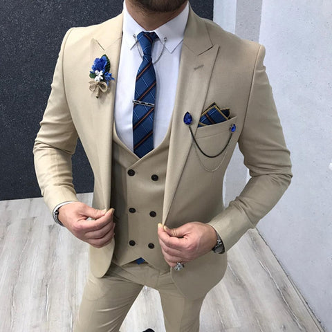 Slim fit Cream Men Suits 3 piece for Wedding 2020 Man Fashion Clothes Peaked Lapel Groom Tuxedos Male Set Jacket with Pants Vest - Mélange Paris