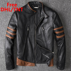 Men's Genuine Leather Jacket Men Motorcycle Pilot Bomber Jacket Sheepskin Leather Mens Aviator Coat Moto Fast Ship Free DHL/TNT