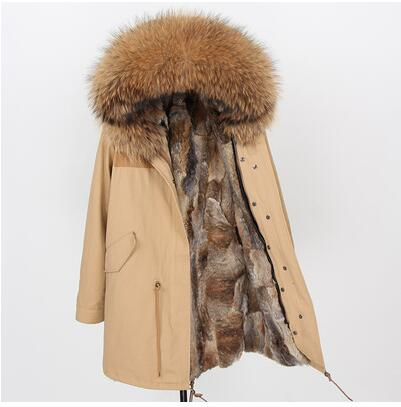 maomaokong Natural Rabbit Fur Women Long Parkas Real Fox Fur Coat Winter Jacket natural raccoon fur collar parka DHL free shipp