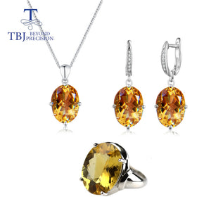 TBJ,Big Citrine Oval 10*14mm Jewelry set 36ct brazi natural gemstone jewelry 925 sterling silver earring ring necklace for lady